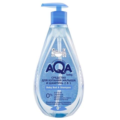 AQA baby. Средство для купания и шампунь 2 в 1, 400 мл