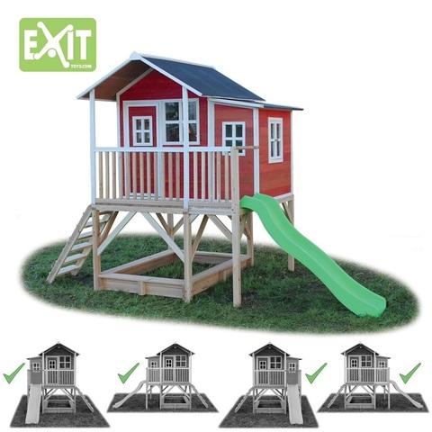 Игровой дом EXiT Toys с горкой 550 крaсный