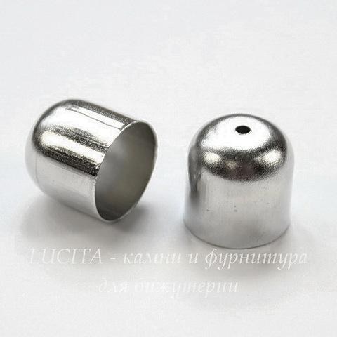 Концевик для шнура 11,5 мм (цвет - платина) 12х12 мм, 2 штуки