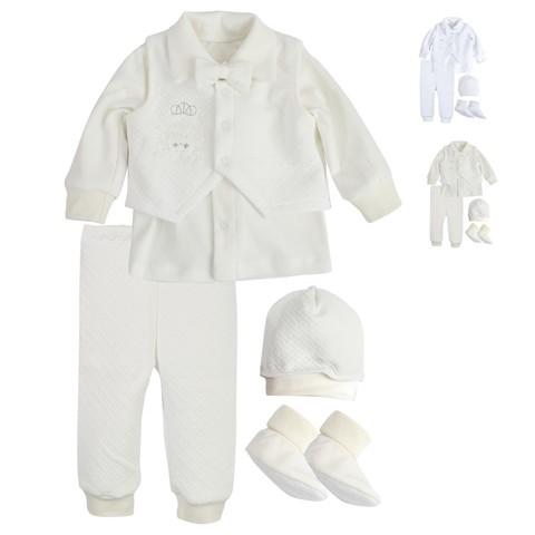 Комплект святковий для хлопчика Newborn Prince молочный