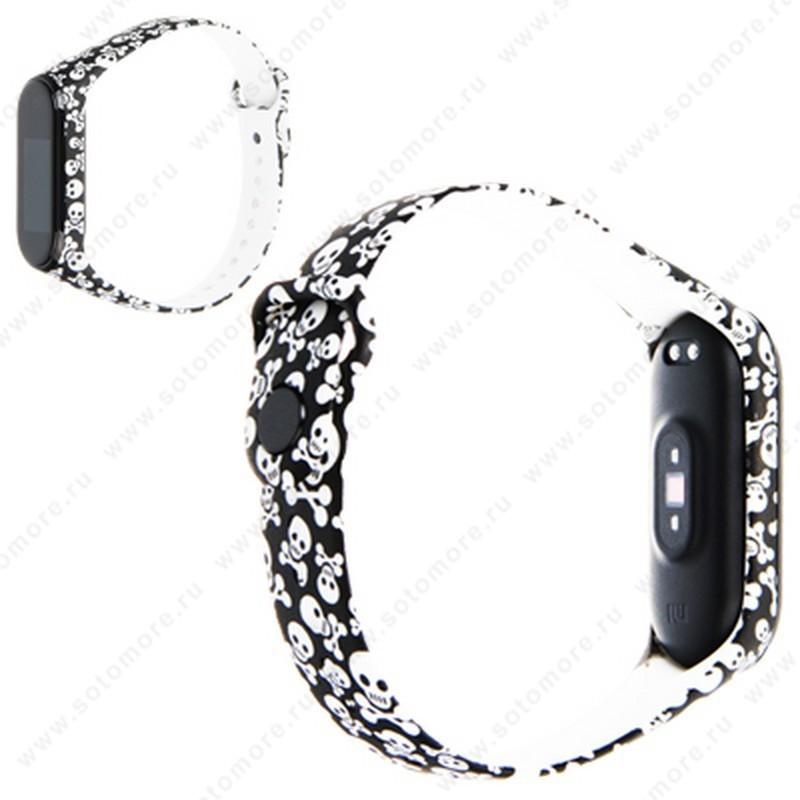Ремешок для фитнес-браслет Xiaomi Mi Band 3/ 4 силиконовый с рисунком Вид 16
