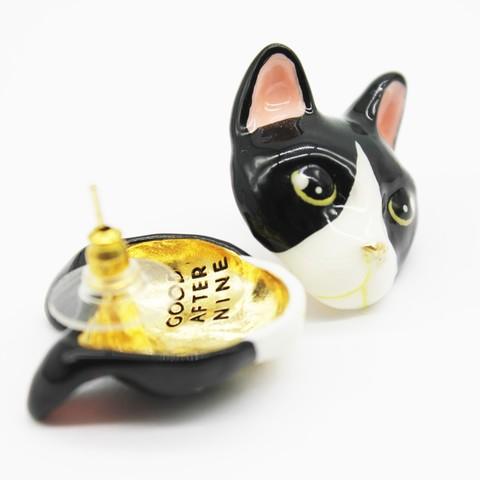 Серьги Кошка (черно-белая)