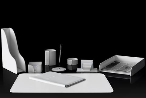 Настольный набор руководителя 9 предметов из кожи цвет белый