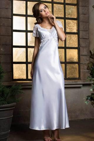 Элегантная длинная сорочка полуприлегающего силуэта из гладкого шелка-сатина фото