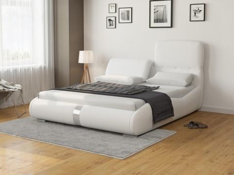 Кровать Лукка:  Ткань Экокожа белая