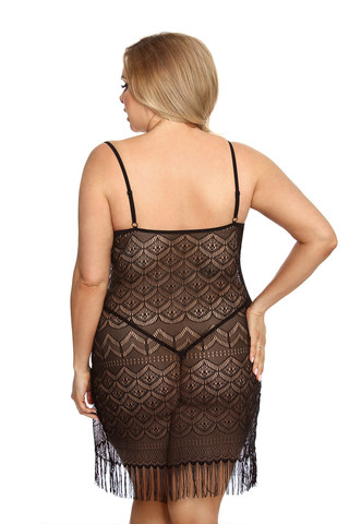 Эротическая сорочка черная кружевная для полных женщин