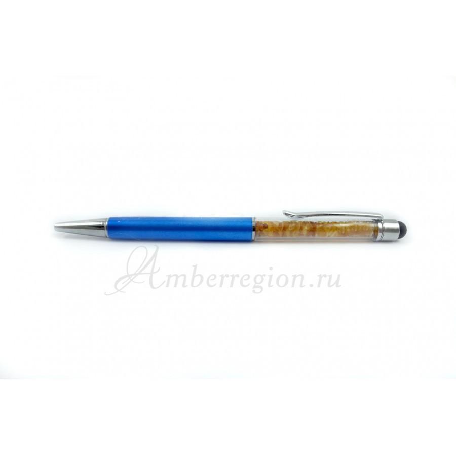 Ручка-стилус с янтарем (синяя перламутровая)