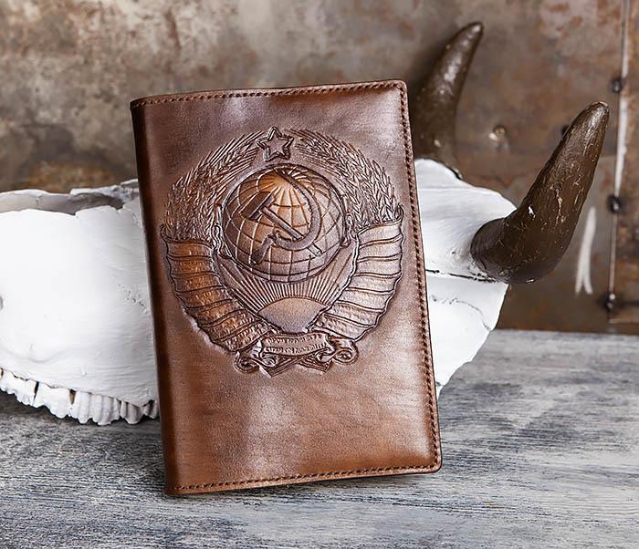 BC197 Ежедневник с гербом СССР на кожаной обложке, ручная работа (A5)
