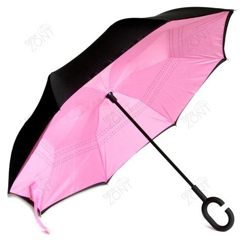 Зонт наоборот с кнопкой розовый механический