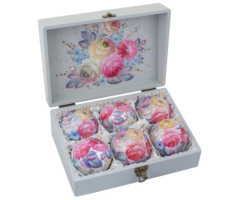 Zhostovo Christmas balls in wooden box - set of 6 balls SET04D03102019003