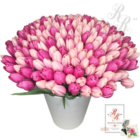 201 Розовый микс  тюльпан в коробке