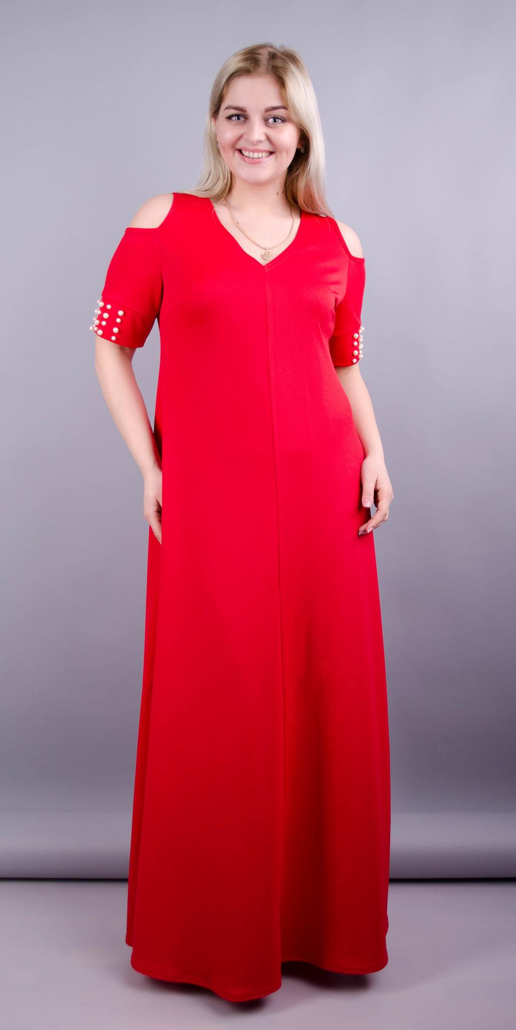 Дюшес. Вечірня сукня плюс сайз. Червоний.