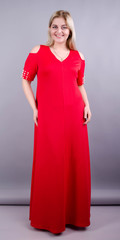 Дюшес. Вечернее платье плюс сайз. Красный.