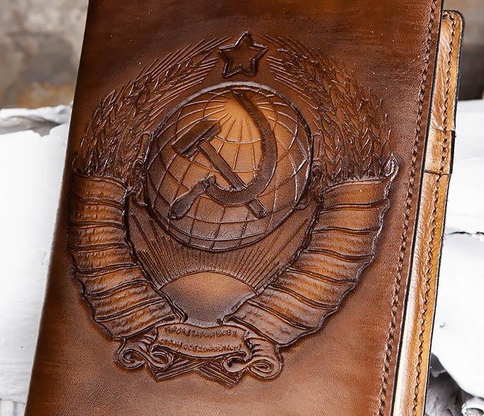 BC197 Ежедневник с гербом СССР на кожаной обложке, ручная работа (A5) фото 03