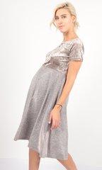 Евромама. Платье для беременных праздничное велюр люрекс, бежевый