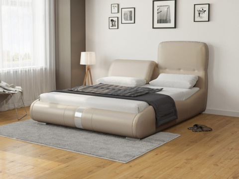 Кровать Лукка:  Экокожа Бежевый перламутр