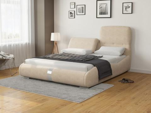 Кровать двуспальная Лукка: Ткань Рогожка бежевая