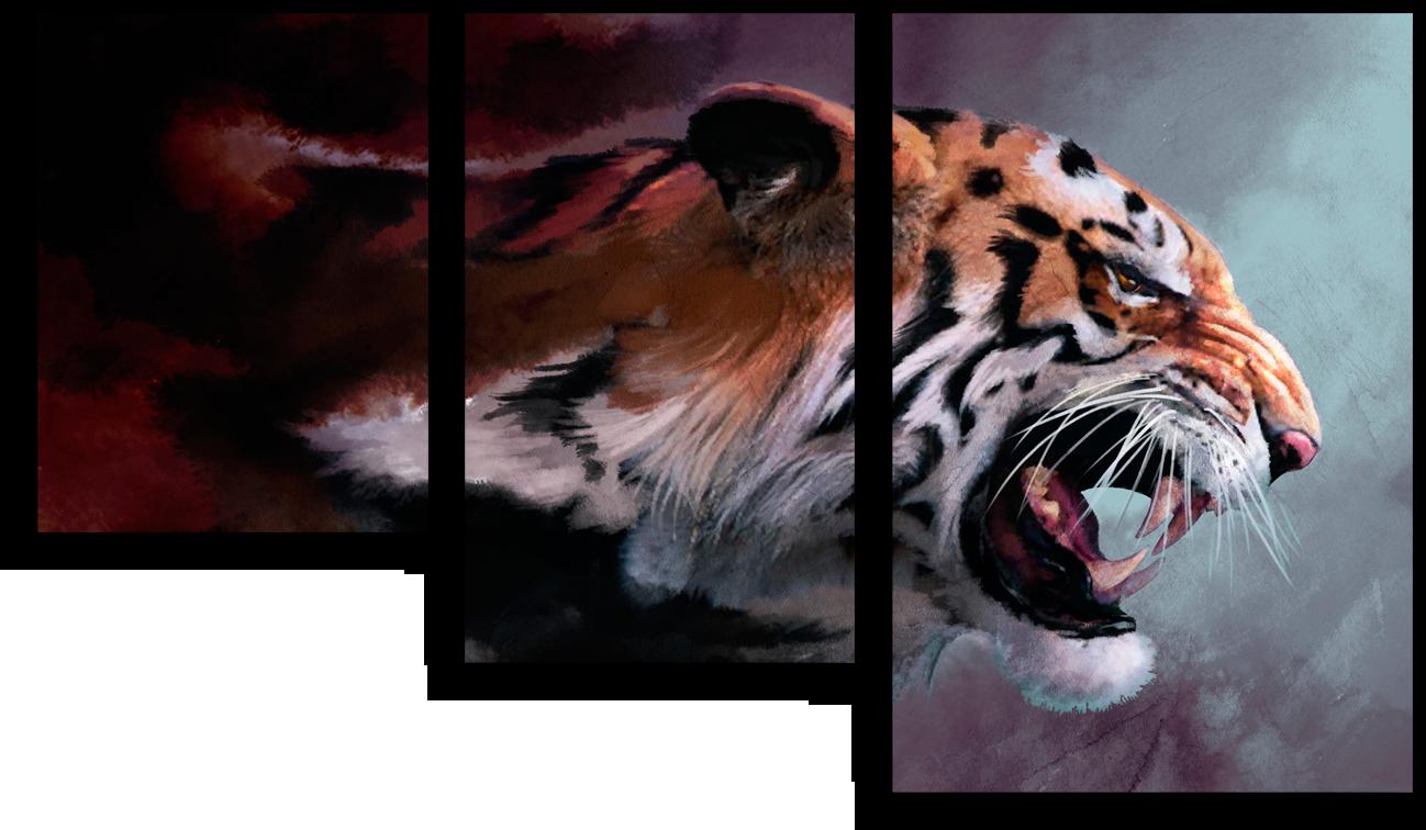 """Модульные картины Модульная картина """"Агрессивный тигр"""" М144.png"""