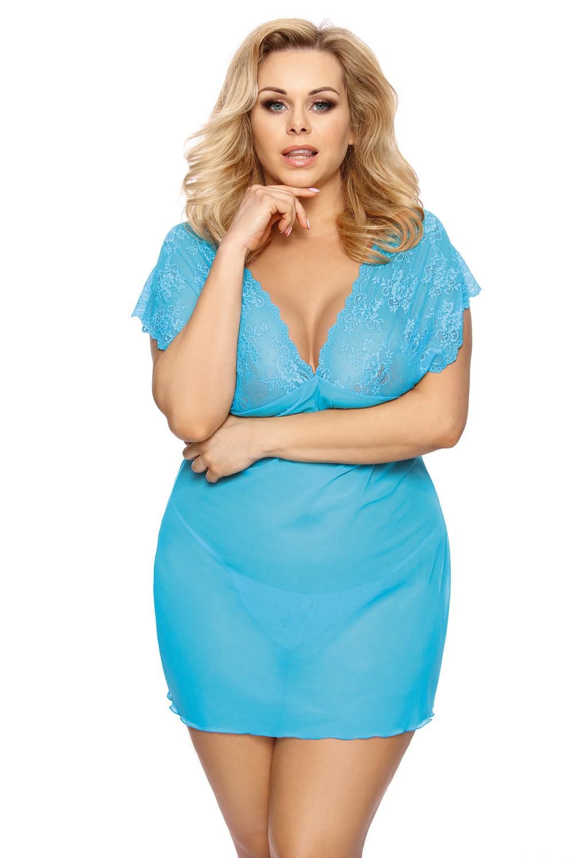 Женская сорочка с кружевом и стринги для полных (Ночные сорочки большого размера)