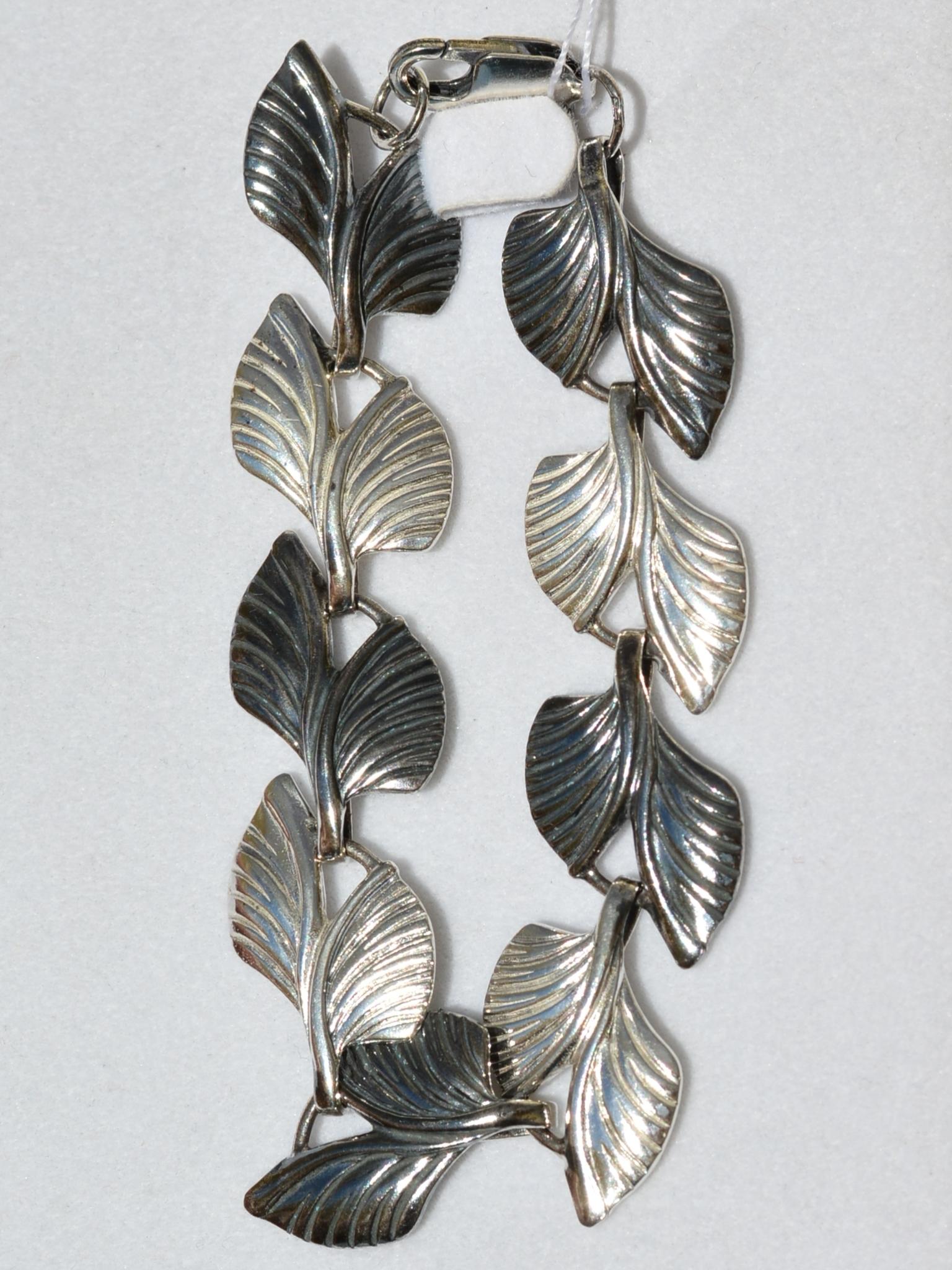 Листья Б (серебряный браслет)