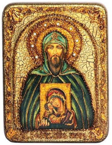 Инкрустированная икона Святой Благоверный великий князь Игорь 20х15см на натуральном дереве в подарочной коробке