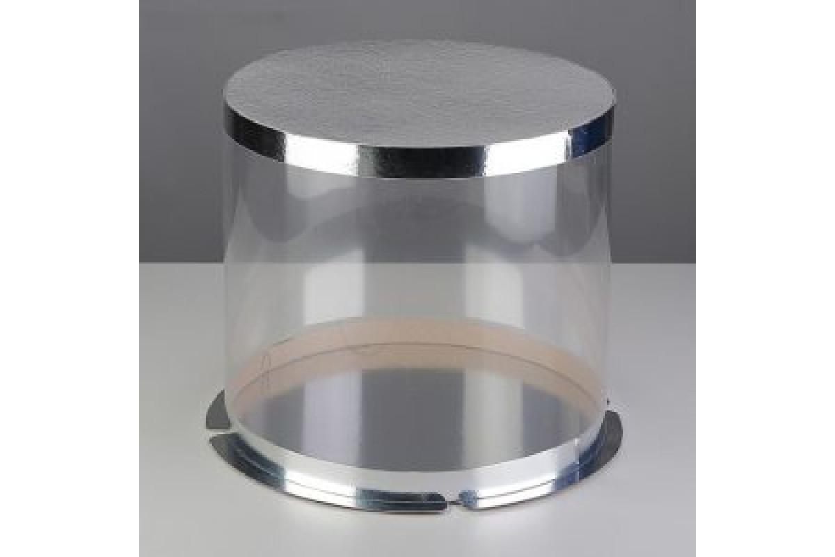 Коробка-тубус прозрачная для тортов 25х25х21см