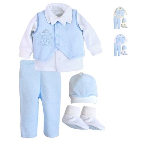 Комплект святковий для хлопчика Newborn Prince белый с голубым