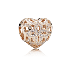 Rose Operwork Heart Charm with Clear Cz