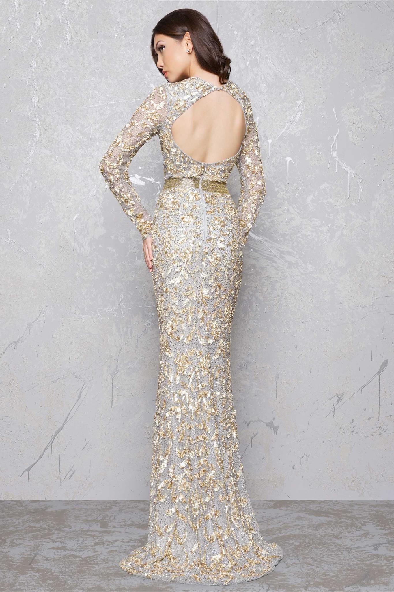 5c4bbbc0a3c Длинное вечернее платье в нюдовых и золотых цветах.