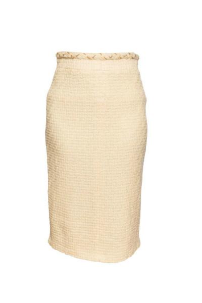 Красивая твидовая юбка-карандаш с завышенной талией от Chanel, 40 размер