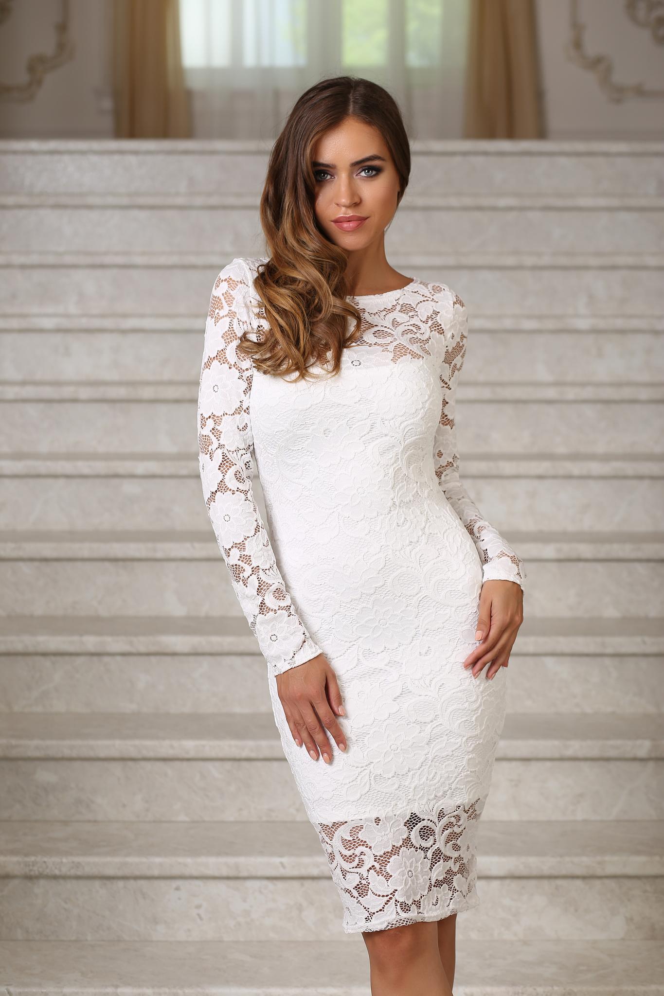 9320345b4cf Кружевное миди платье-футляр с рукавами