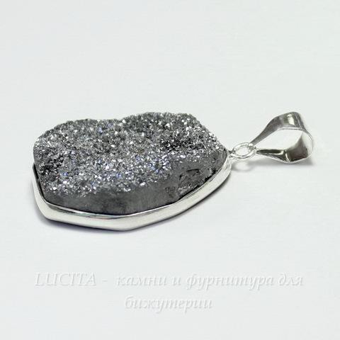 Подвеска Кварц в рамке (цвет - античное серебро) 29,2х23,2х7,6 мм №7 (Б-15-11-07а)