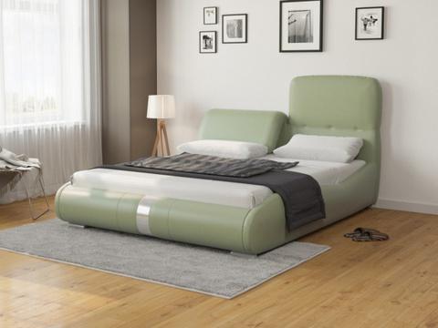 Кровать двуспальная Лукка:  Экокожа Олива