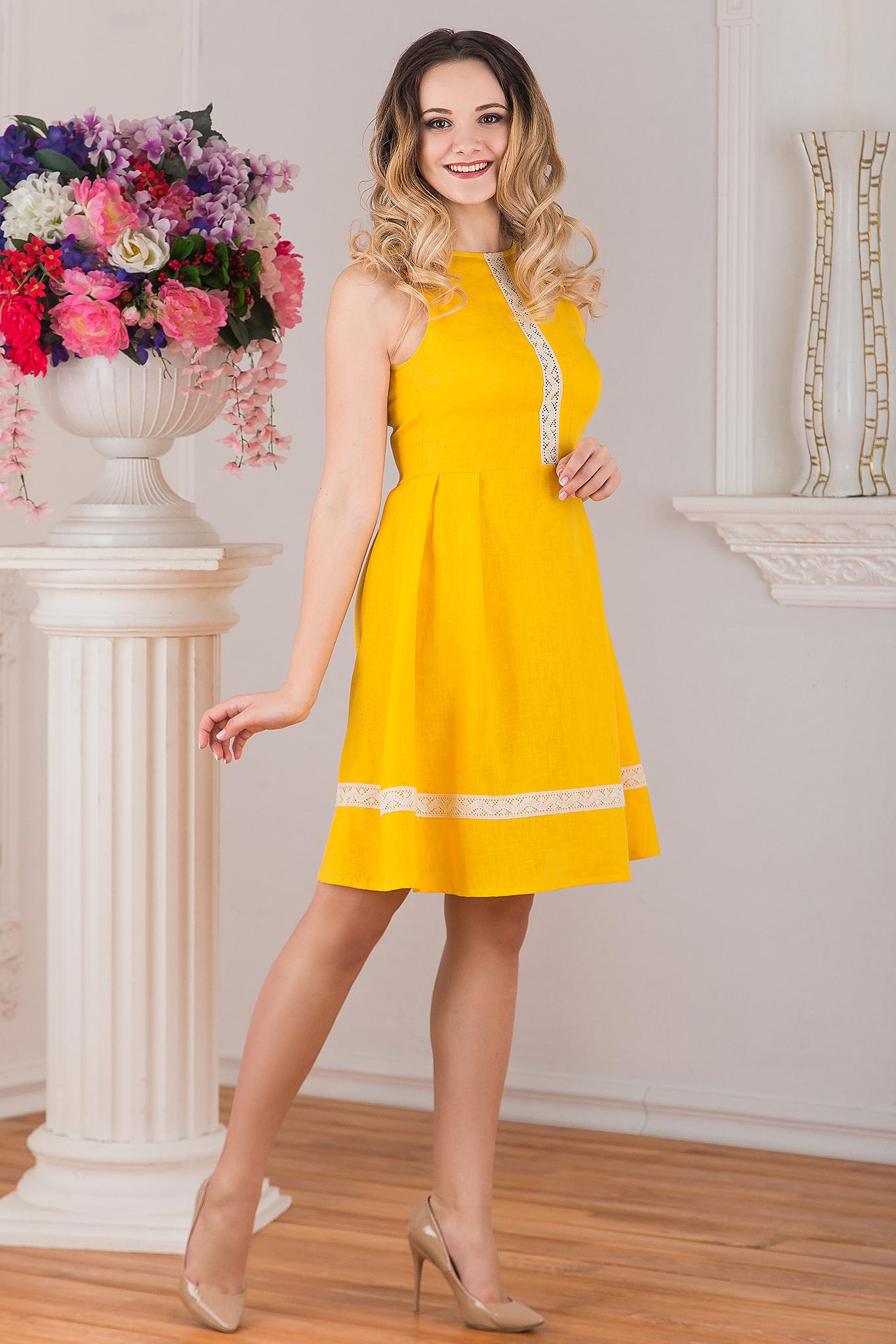 Платье льняное Ясное вид сбоку
