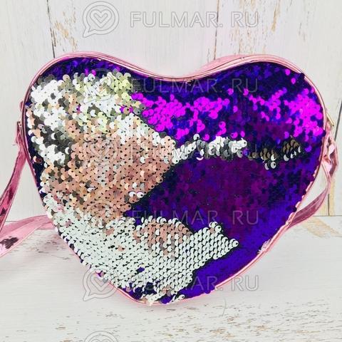 Сумка детская сердце с пайетками меняющая цвет Фиолетово-Серебристая