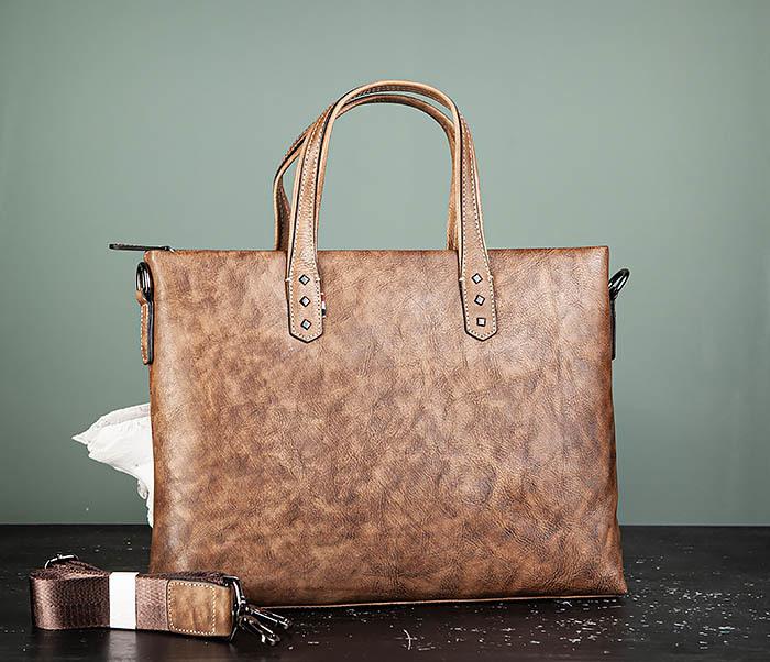 LeatherBull, Мужской кожаный портфель с ремнем на плечо