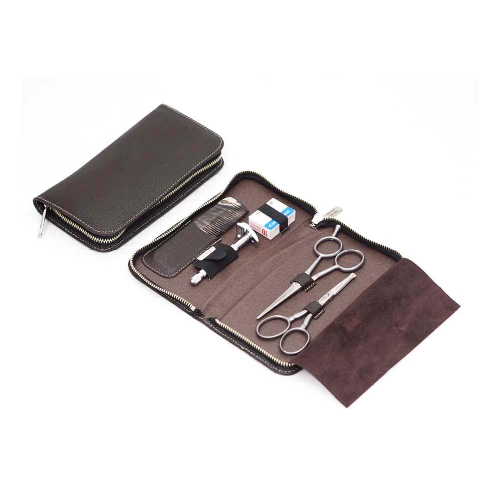 Набор бритвенный Dovo, 5 предметов, цвет коричневый, кожаный футляр 508056