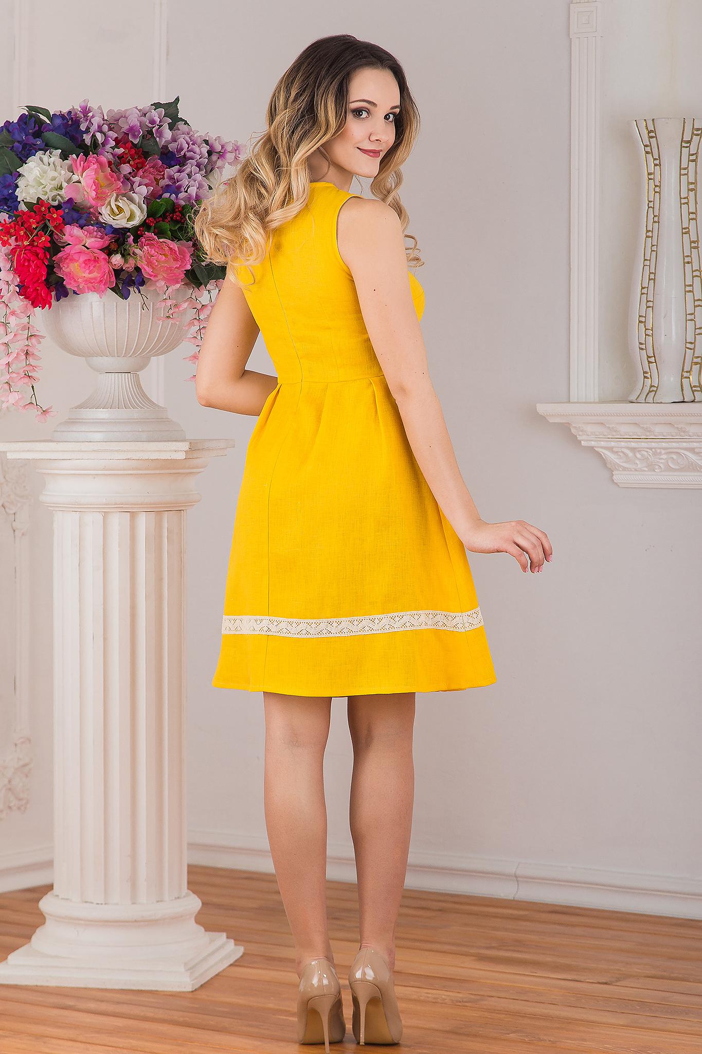 Платье льняное Ясное вид сзади