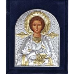 Пантелеймон Целитель. Серебряная икона в бархатном футляре.