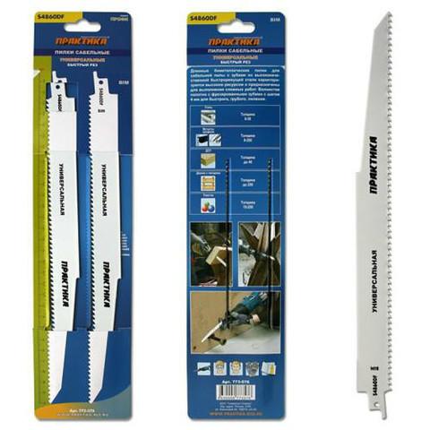 Пилки для лезвийной пилы ПРАКТИКА S4860DF BIM, по  дер/мет/пласт, шаг 4 мм, длина 300 мм, 2 шт