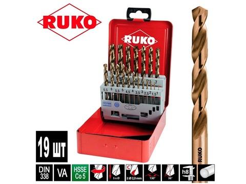 Набор сверл по металлу Ruko DIN338 h8 HSSE-Co5 19шт 1-10мм 215214
