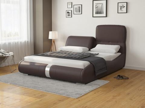 Кровать Лукка:  Экокожа коричневая