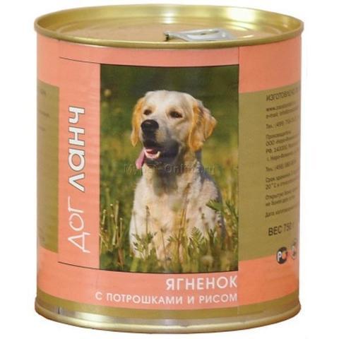 ДОГ ЛАНЧ консервы для собак (ягненок с потрошками и рисом в желе) 750г
