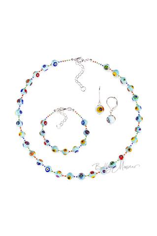 Комплект Муррина голубого цвета (серьги, бусы, браслет)
