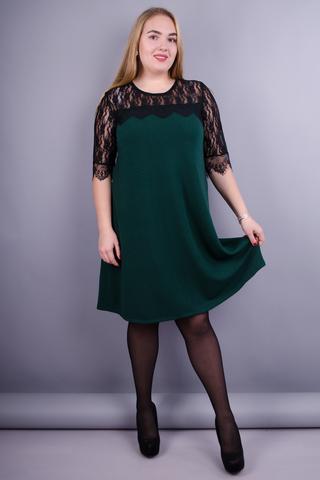 Лайза. Универсальное женское платье плюс сайз. Изумруд.