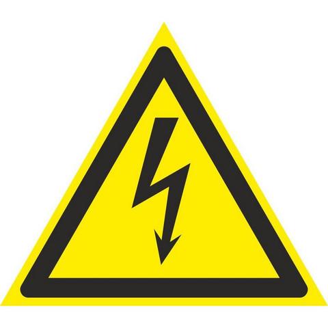 Знак безопасности W08 Опасн.поражения эл.током (плёнка,100х100) уп.10шт