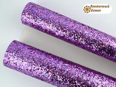 Глиттер крупный на тканевой основе мультиколор розово-сиреневый