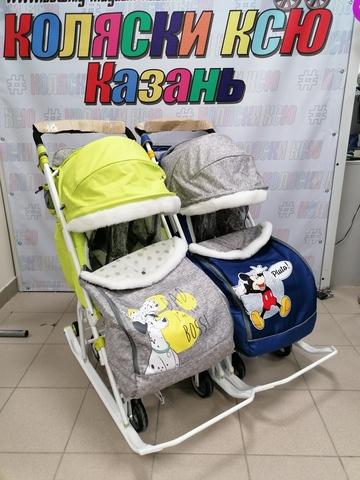 Санки-коляска для двойни NIKA KIDS Дисней беби 2 (Лимон-синий)
