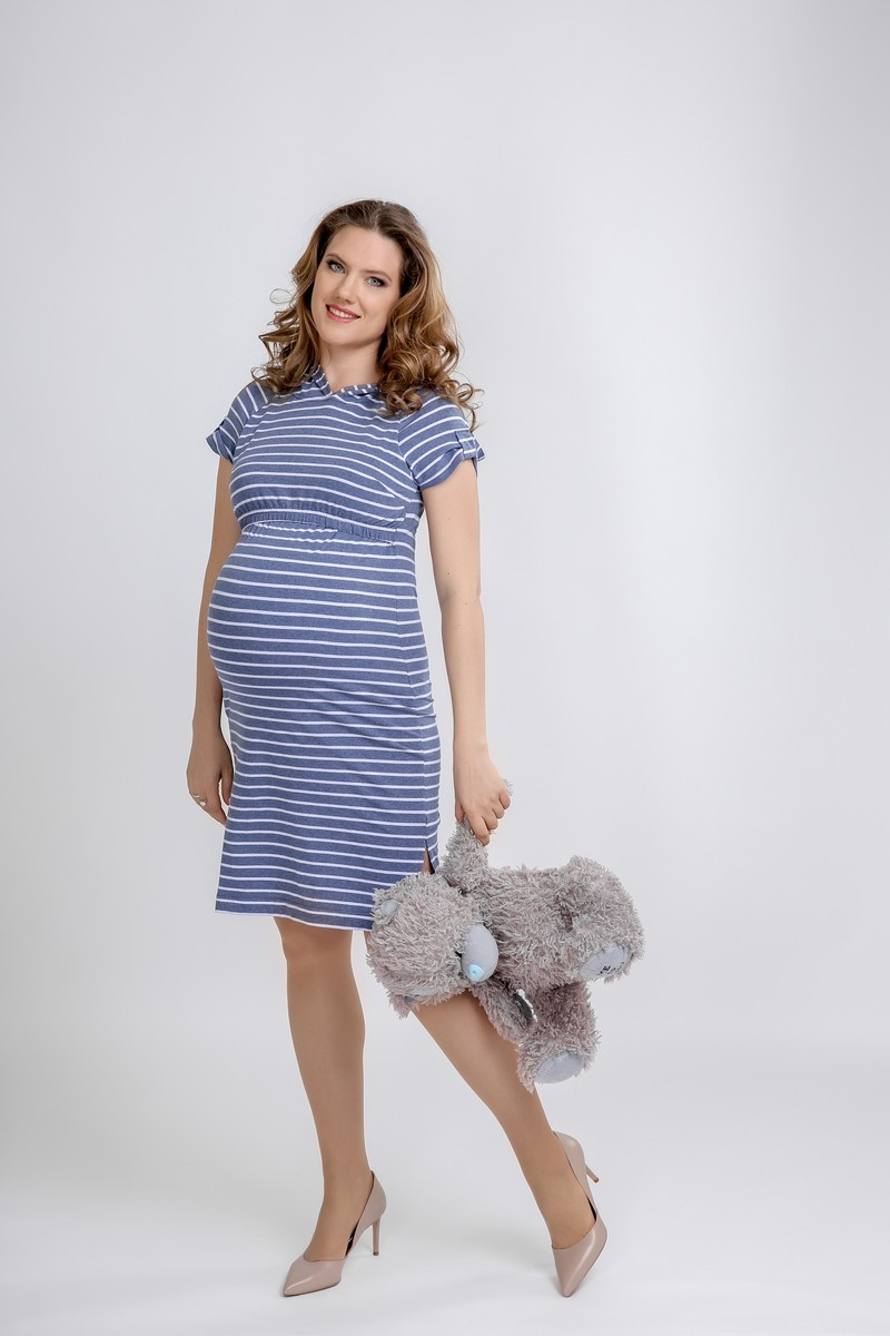 Платье для беременных и кормящих 09580 синий в полоску