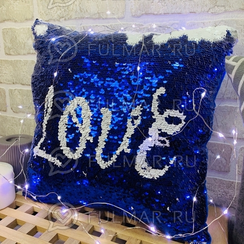 Подушка декоративная квадратная с пайетками меняющая цвет Синий-Белый с надписью love (30х30х12 см)